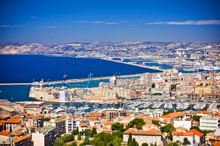 monte cristo: the amazing areal view on Marseille from mountain where is church od Notre Dame de la Guarde , France
