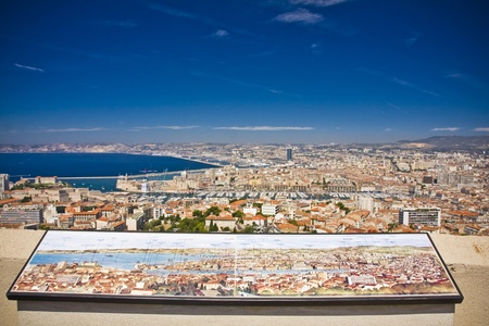 the amazing areal view on Marseille from mountain where is church od Notre Dame de la Guarde , France