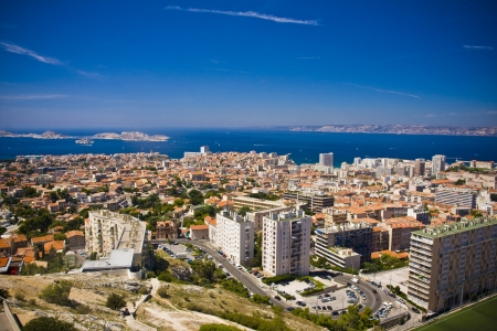 the amazing areal view on Marseille from mountain where is church od Notre Dame de la Guarde , France Stock Photo - 17462660