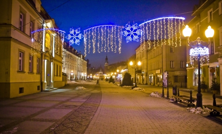 Cieplice city in Winter time at night, Poland photo