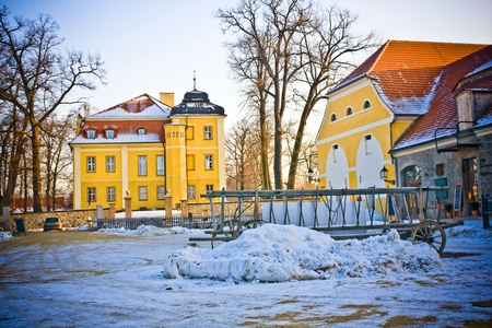 blanketed: A typical view on a village in Poland Stock Photo