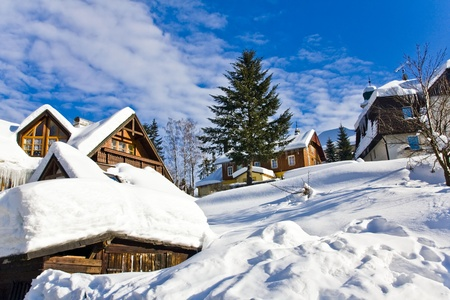 village in wintertime, Harrachov Stock Photo