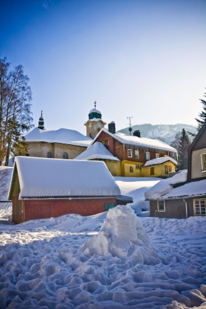 village in wintertime, Harrachov 版權商用圖片