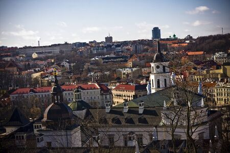 vilnius: Panoramic view of Vilnius old town from Gediminas Tower- Lithuania