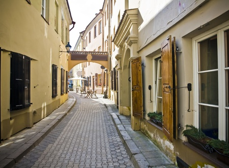 oldtown: Vilnius oldtown street in sunny day Stock Photo
