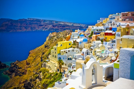 Fantastic colorful houses in Oia town, Santorini, Greece Stock Photo