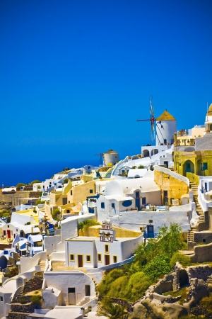 Colorful village of Oia at Santorini island in Greece Stock Photo