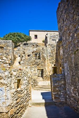 lepra: Spinalonga Fortaleza Grecia - Colony �ltima vez activo Lepra Foto de archivo