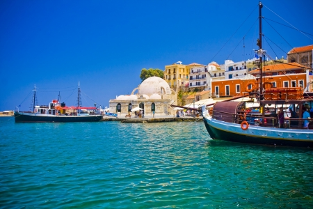 Harbor and streets of Chania Crete Greece