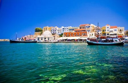 crete: Harbor and streets of Chania Crete Greece