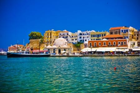 Haven en de straten van Chania Kreta Griekenland