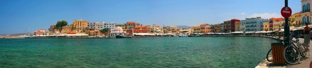 Harbor and streets of Chania Crete Greece - panoramic view