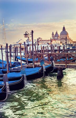 saint mark square: Before the sunset, Gondolas Saint Mark square with San Giorgio di Maggiore church in the background - Venice, Venezia, Italy, Europe
