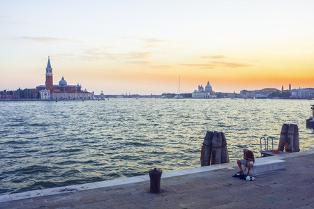 Before the sunset, Gondolas Saint Mark square with San Giorgio di Maggiore church in the background - Venice, Venezia, Italy, Europe