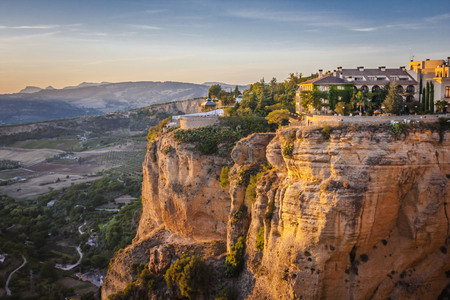 beautiful sunset over the Ronda, areal view ,Spain Stock Photo
