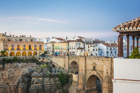 ronda: beautiful sunset over the Ronda, areal view ,Spain Stock Photo