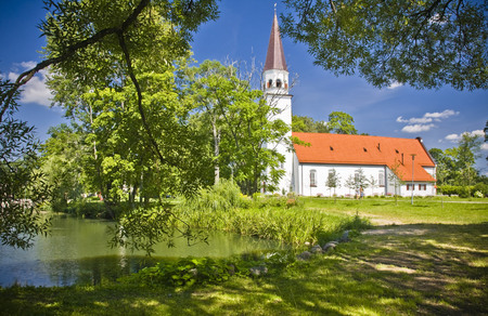 american midwest: old luthetan church in Sigulda, Latvia Stock Photo