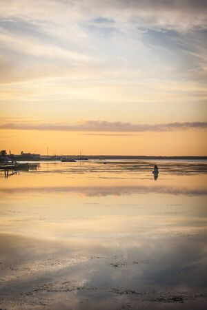 Amazing sunset in Hapsalu -Baltic Sea, Eesti (Place where has been Tchaikovsky) Stock Photo