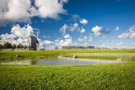 dream land: A wooden windmill in Angla, Saaremaa island, Estonia Stock Photo
