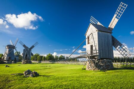 A wooden windmill in Angla, Saaremaa island, Estonia Stock Photo