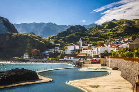beautiful landscape with the ocean on Maderia island, from Faial village Stock Photo