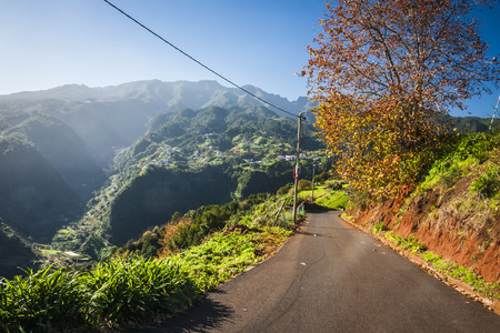 scenic drive: Empty typical road in Madeira island, Portugal Stock Photo