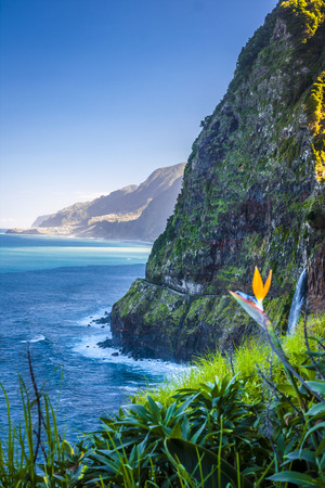 View of beautiful ocean on northern coast near Boaventura, Madeira island, Portugal