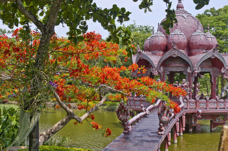 Life size models of ancient architecture of Thailand photo