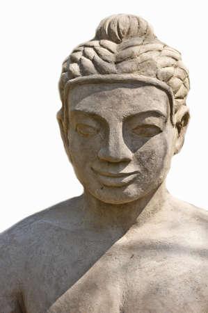 Buda estátua de argila no fundo branco