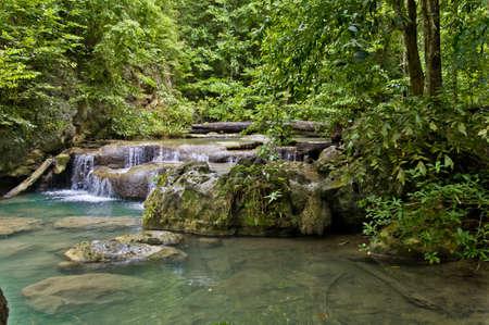 Erawan waterfall in Kanchanaburi in western Thailand photo