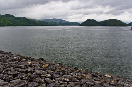 Srinakarin dam in Kanchanaburi in western province of Thailand photo