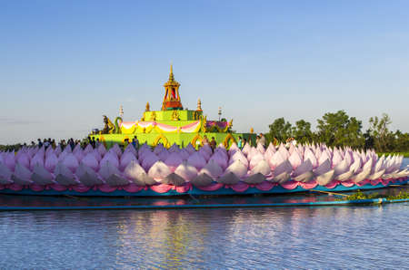 Giant floating Lotus flower architecture at Chacoengsao Thailand