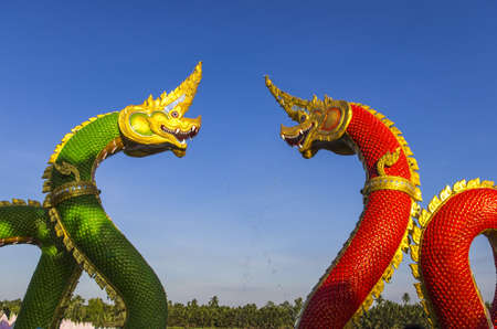 chachoengsao: Colourful dragon sculptures of Chinese ancient history at Chachoengsao Thailand