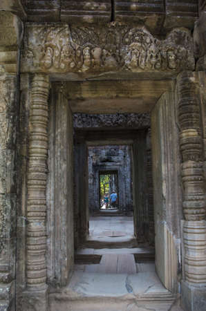 A corridor inside the Ta Prohm temple at Angkor in Siem Reap, Cambodia