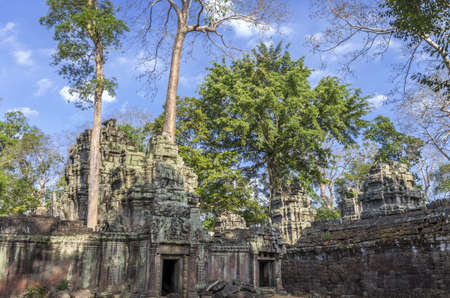 Inner enclosure of Ta Prohm temple at Angkor in Siem Reap Cambodia photo