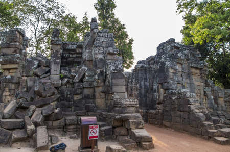 Entrance to the Ta Prohm temple at Angkor in Siem Reap, Cambodia photo