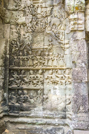 Bas relief on Ta Prohm temple in Cambodia photo