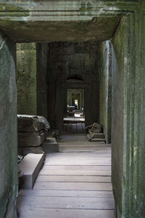 Inner corridor of Ta Prohm temple at Angkor in Cambodia