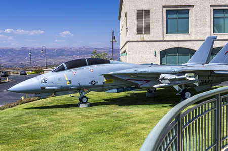 ronald reagan: Simi Valley, California - June 8, 2013 : A military jet on the grounds of Ronald Reagan Presidential Library, Simi Valley, CA. Editorial