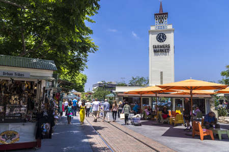 Los Angeles, California - June 9th, 2013 : The Farmers Market is an area of food stalls, sit-down eateries, prepared food vendors, and produce markets. It also a historic Los Angeles landmark and tourist attraction.