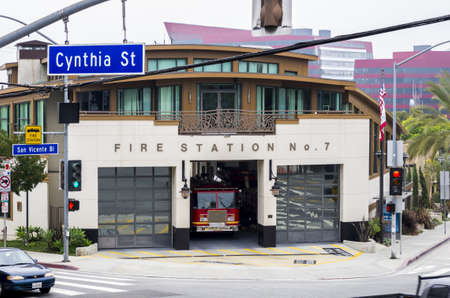 bl: West Hollywood, California - June 8th, 2013 : Fire Station No. 7 at the crossing of Ctnthia St. and San Vicente Bl.