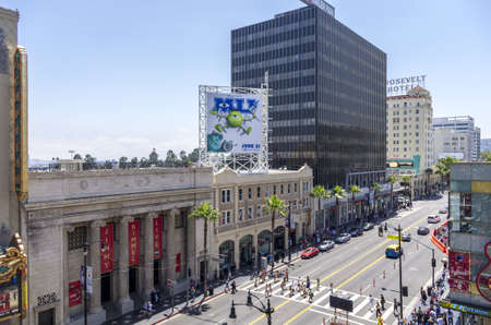 Los Angeles, California - June 9th, 2013 : The Hollywood Boulevard as viewed from Dolby Theatre, is a street in Hollywood, Los Angeles,  splitting off Sunset Boulevard in the east and running northwest to Vermont Avenue. It is one of the major tourists at