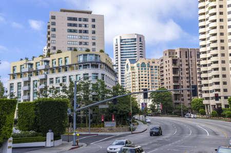 alongside: Westwood, Los Angeles, California - June 10, 2013 : Luxury apartments alongside  Wilshire Blvd.