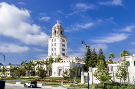 Beverly Hills, California - June 10, 2013 : The Beverly Hills City Hall is situated on Crescent Drv. It was built in 1932 in Spanish Colonial Revival architecture, the City Hall has been featured in many movies and television shows.