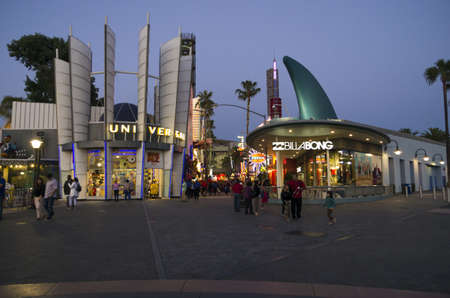 night spots: Universal City, California - June 10, 2013 : Universal City Walk Hollywood is a three block entertainment, dining, shopping promenade. Options include more than 30 places to eat, a 19 screen movie theater, seven night spots, indoor skydiving and more than
