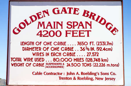 San Francisco, California - June 12, 2013 : A sign displaying the details of the construction of the Golden Gate Bridge. Redakční