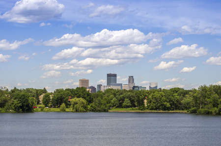 minnesota woods: View of Minneapolis Skyscrapers from lake of the Isles Stock Photo