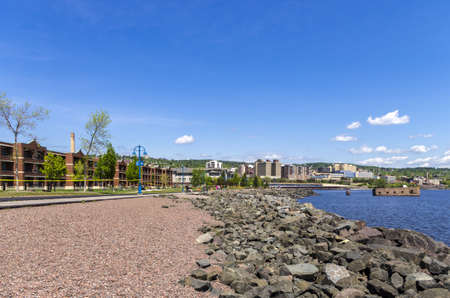 Duluth, Minnesota - June 20, 2013   View of Duluth city downtown from the Lakewalk in Canal park, Duluth  Editorial