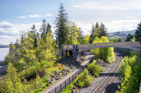 Duluth, Minnesota, Scenic view of a bridge over the railway tracks along the Lakewalk in Duluth next to Leif Erikson Park
