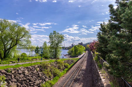 Duluth, Minnesota - June 20, 2013   Scenic view of railway tracks along the Lakewalk in Duluth next to Leif Erikson Park Editorial